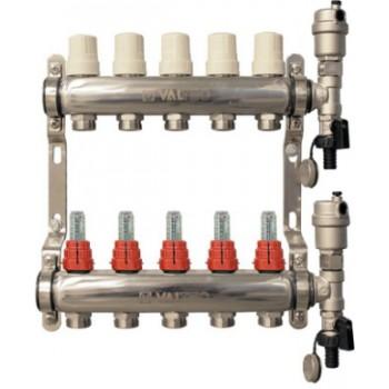 Коллекторный блок VALTEC Vtc.589.EMNX из нержавеющей стали со встроенными расходомерами