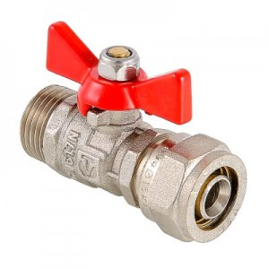 Шаровой кран с обжимным соединением и наружной резьбой VALTEC VT.341.N
