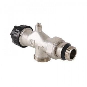 Клапан термостатический угловой VALTEC VT.049.NE с осевым управлением, предварительной настройкой и воздухоотводчиком